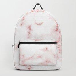 Pink Rose Gold Marble Natural Stone Gold Metallic Veining White Quartz Backpack