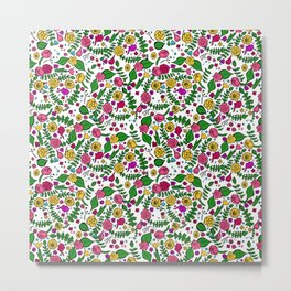 Cute Chintz Floral Pattern Metal Print