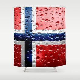 Flag of Norway - Raindrops Shower Curtain
