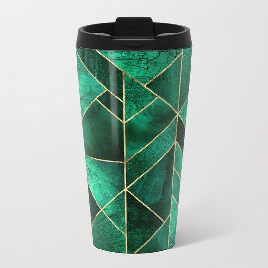Abstract Nature - Emerald Green Metal Travel Mug