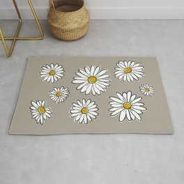 Daisies on Gray Rug