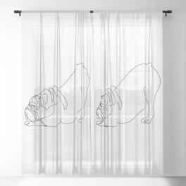One line English Bulldog Downward Dog Sheer Curtain