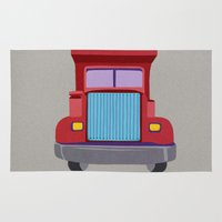truck Area & Throw Rugs featuring red truck by elvia montemayor