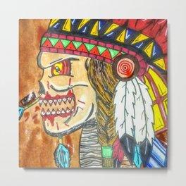 Undead Native American Warrior Metal Print
