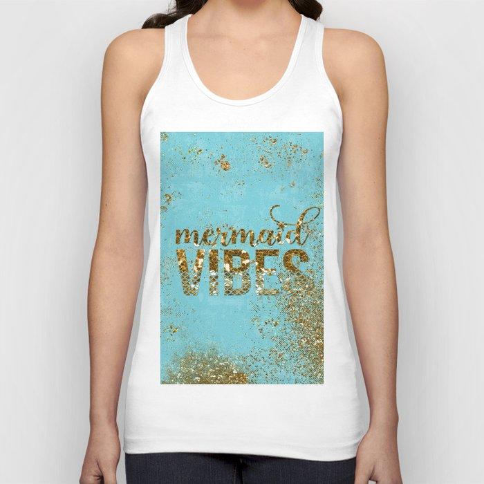 Mermaid Vibes - Gold Glitter On Teal Unisex Tanktop