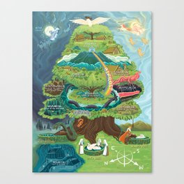 Map of Yggdrasil (Nine Worlds) Canvas Print