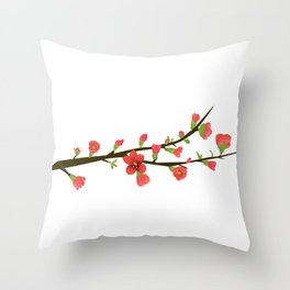 Flowering Quince Flowers Throw Pillow
