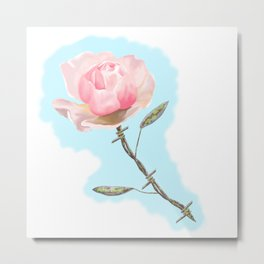Old but beautiful...barbed wire rose Metal Print