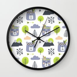 Cute Mountains Bears and Trees Happy Campers Children Pattern Wall Clock