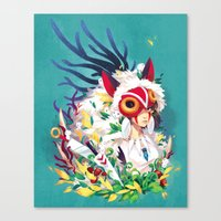 princess mononoke Canvas Prints featuring Princess Mononoke by Stephanie Kao
