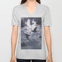 crows in the stormy sky Unisex V-Neck