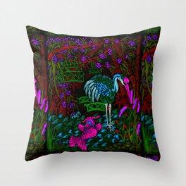 Asian Bamboo Garden in Black Velvet Watercolor Throw Pillow