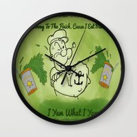 popeye Wall Clocks featuring Popeye  by ItalianRicanArt