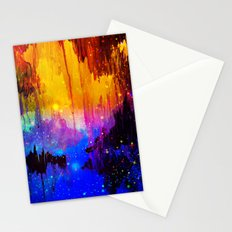CASTLES IN THE MIST Magical Abstract Acrylic Painting Mixed Media Fantasy Cosmic Colorful Galaxy  Stationery Cards
