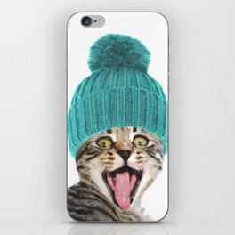 Cat with hat illustration iPhone Skin
