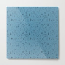 Linocut Camels No. 3 in Blue Metal Print
