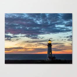 Sunset at Yaquina Head Lighthouse Canvas Print