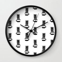 Aeropress black and white linocut coffee lover cafe kitchen minimal art Wall Clock