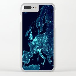 Earth's Night Lights : Teal Clear iPhone Case