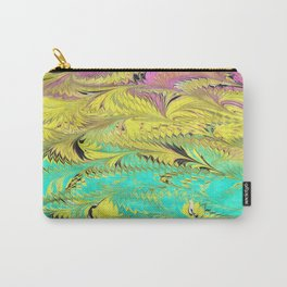 Rainbow Feather Water Marbling Carry-All Pouch