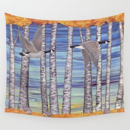 Canada geese, hedgehogs, and autumn birch trees Wall Tapestry