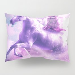 Kitty Cat Riding On Flying Space Galaxy Unicorn Pillow Sham