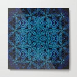 Turquoise Teal Delicate Flowers Metal Print