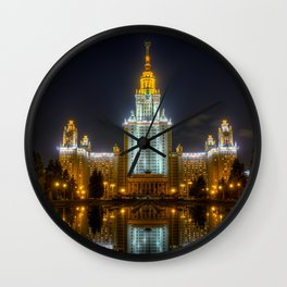 Moscow State University By Night Wall Clock