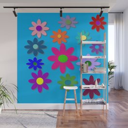Flower Power - Blue Background - Fun Flowers - 60's Hippie Style Wall Mural