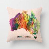 australia Throw Pillows featuring Australia  by mark ashkenazi