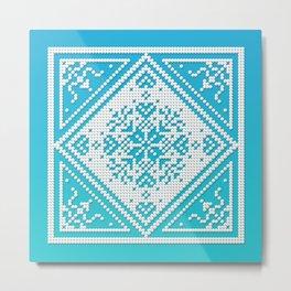 Scandinavian Snowflake Pattern with Aqua and Turquoise Metal Print