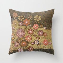 Wild Flower Collagraph Throw Pillow