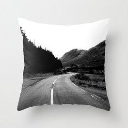 Road through the Glen - B/W Throw Pillow
