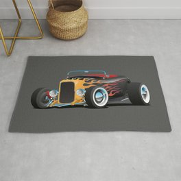 Custom Hot Rod Roadster Car with Flames, Chrome Rims and White Wall Tires Rug
