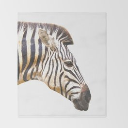 Zebra portrait Throw Blanket
