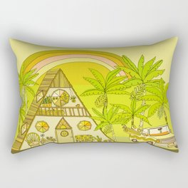 a frame simple living // banana pancakes // retro surf art by surfy birdy Rectangular Pillow