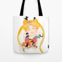 sailor moon Tote Bags featuring Sailor Moon by cezra