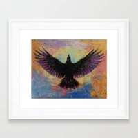 crow Framed Art Prints featuring Crow by Michael Creese