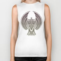 silent Biker Tanks featuring Silent Flight (Owl Wings) by Rachel Caldwell