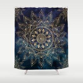 Elegant Gold Mandala Blue Galaxy Design Shower Curtain