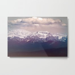 Mont blanc massif mountain in Alps by overcast dark sky Metal Print