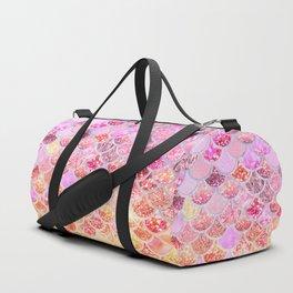 Rosegold & Gold Trendy Glitter Mermaid Scales Duffle Bag