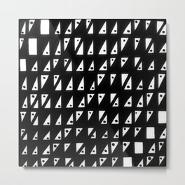 diagonal black and white triangle pattern with tiny dots Metal Print