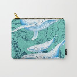 Whale Family Teal Carry-All Pouch
