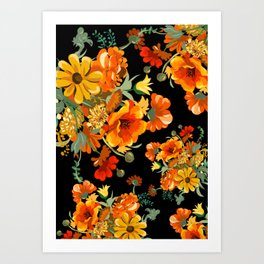 Orange flower bunch 70s mid century Art Print