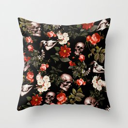 Floral and Skull Dark Pattern Throw Pillow