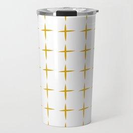 Affirmative. Minimalist Plus Pattern in Mustard Yellow and White Travel Mug