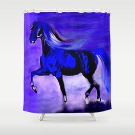 Horse Cobalt Blue Shower Curtain