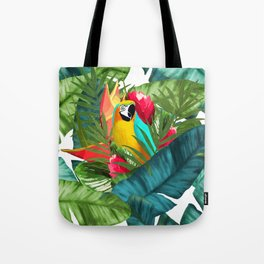 Fresh Parrot Tropical Banana Leaves Bouquet Tote Bag