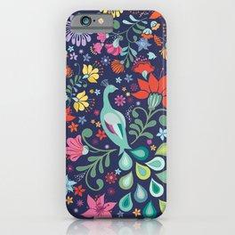 Peacock Sanctuary (navy) iPhone Case